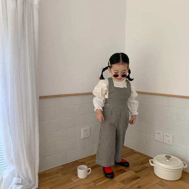 【先行予約】ギンガムチェック ワイドレッグ オールインワン 韓国子供服 春 SS