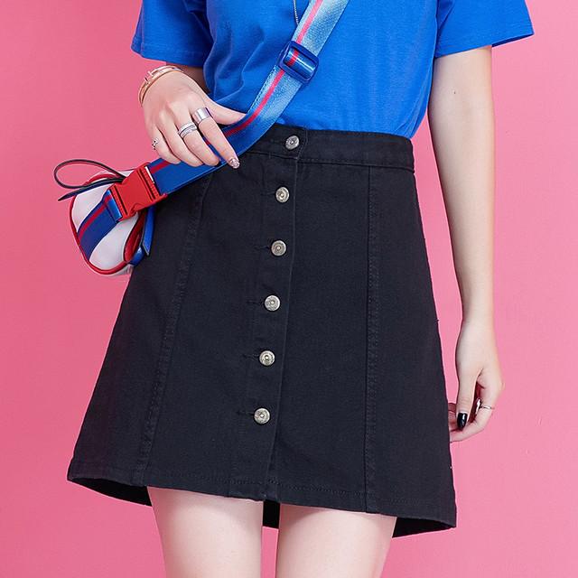 【skirt】ファッションボタン無地Aラインハイウエストスカート