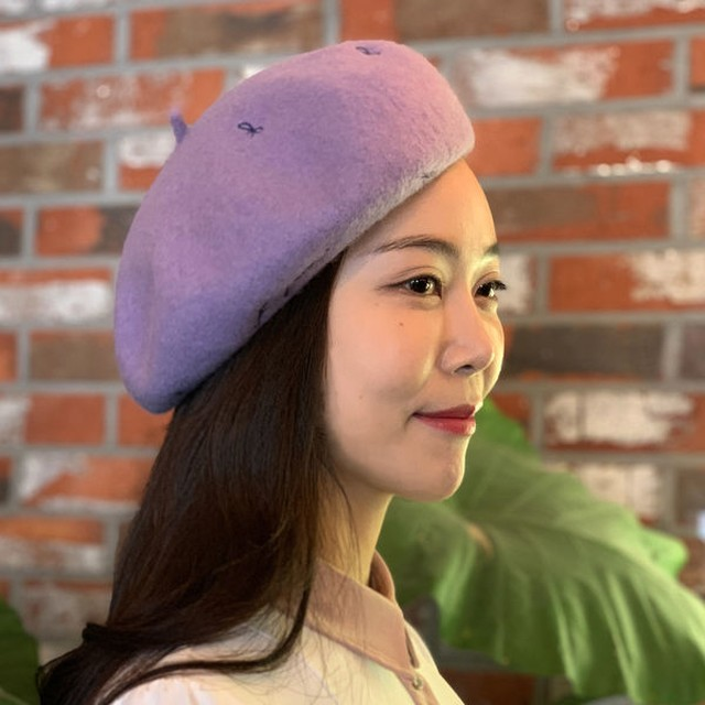 Ribbon Beret リボンベレー帽 (Light Purple)