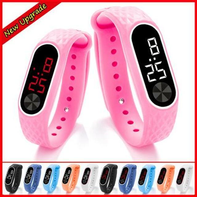 6カラー / 2タイプ キッズ 腕時計 LED デジタル スポーツ リストウォッチ 子供 電子時計 Trendy-2