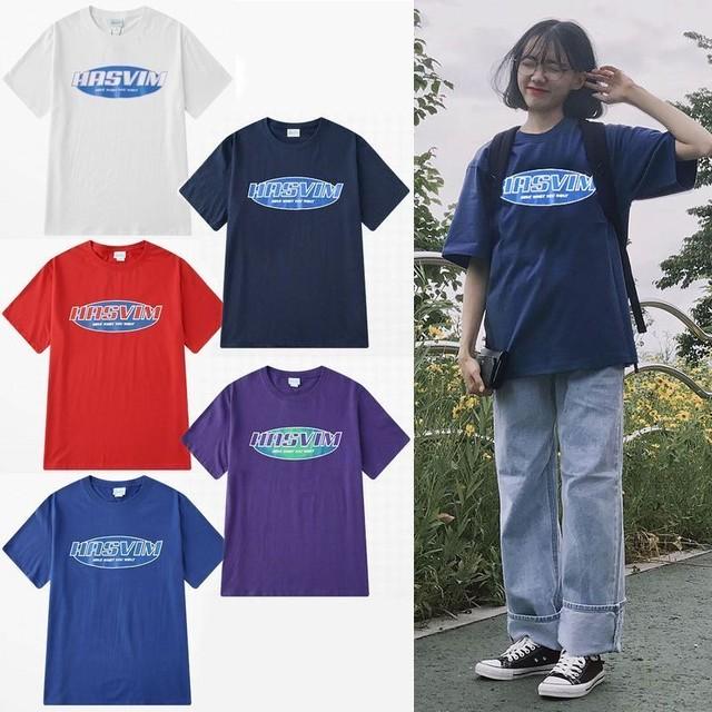 ユニセックス 半袖 Tシャツ メンズ レディース シンプル HASVIM 英字 プリント オーバーサイズ 大きいサイズ ルーズ ストリート TBN-588104905004