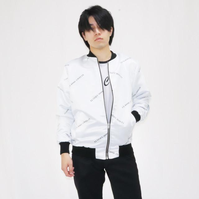 サテンMA-1ジャケット ホワイト