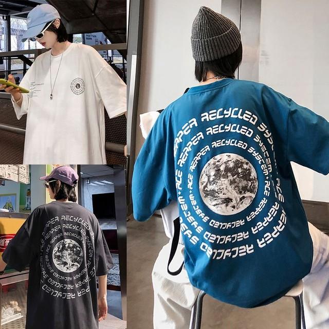 ユニセックス 半袖 Tシャツ メンズ レディース 英字 バックプリント オーバーサイズ 大きいサイズ ルーズ ストリート TBN-613897006565