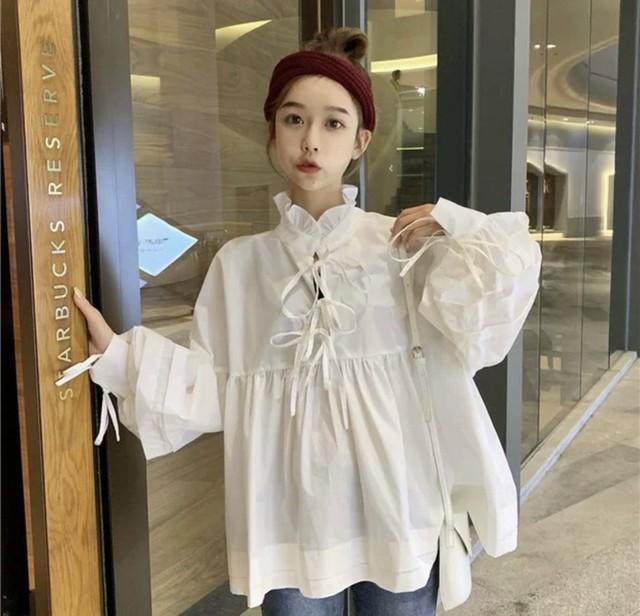 【韓国レディースファッション】 6192 可愛い シンプル フリル チュニック 体型カバー 送料無料