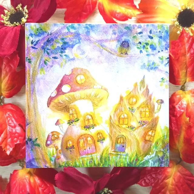 絵画 インテリア アートパネル 雑貨 壁掛け 置物 おしゃれ  アクリル画 パステル画 月 森 水彩画 ロココロ 画家 : Satoko Rin 作品 : 月あかりの森で