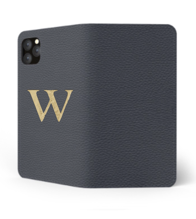 iPhone Premium Shrink Leather Case (Navy)  : Book cover Type