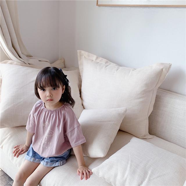 送料無料♡韓国子供服 ルーズ ふわっと Tシャツ あひる 2色 夏 5分袖 サイズ80~130