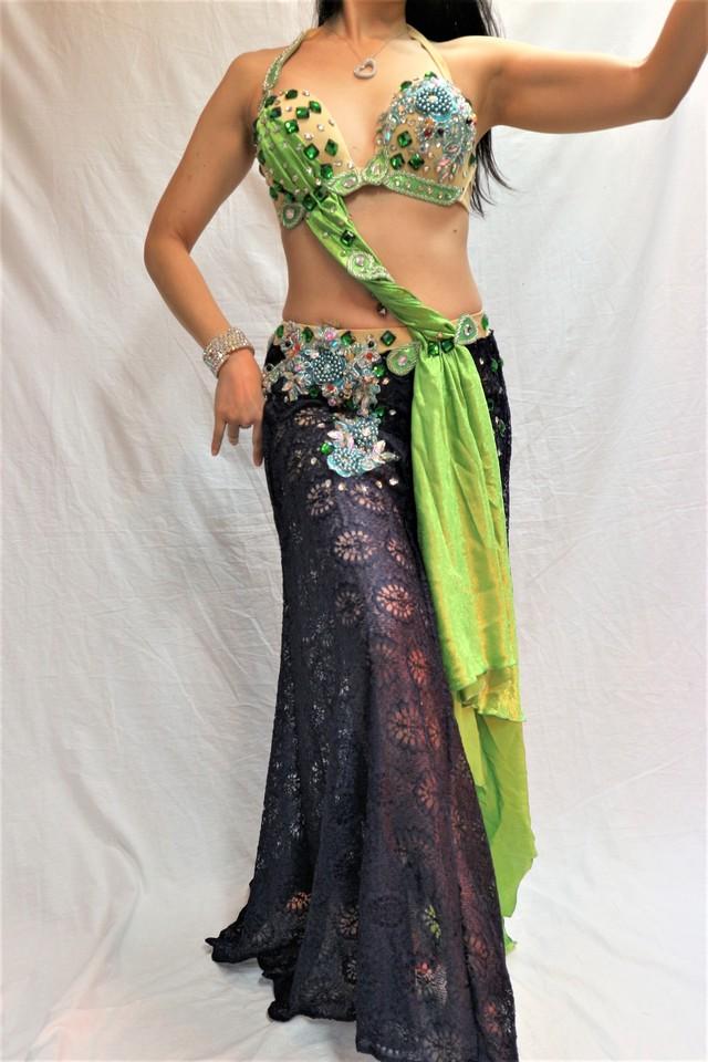 エジプト製 ベリーダンス衣装 コスチューム 水色&ゴールド