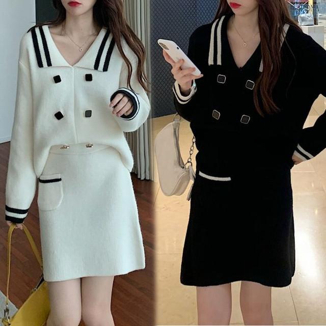 セットアップ 2点セット ニット ニットスーツ ニットスカート スクエアボタン 韓国ファッション レディース 長袖 ハイウエスト 大人可愛い ガーリー / Knit suit sweater + half length skirt two piece (DTC-626547683921)