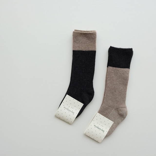 再入荷 benebene TWO-TONE RIBBED SOCKS(全2色/BABY〜8Tサイズ)