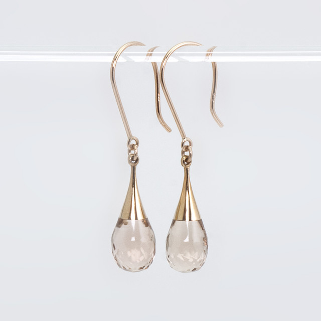 Drop earrings / Champagne quartz