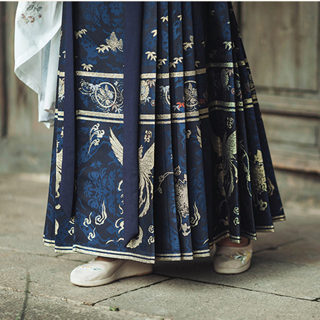【清水溪シリーズ】★まきスカート★ 3color 青or赤or白 チャイナ風スカート プリーツスカート 漢服
