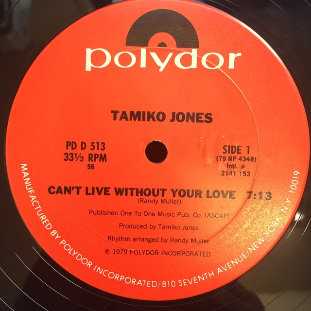 Tamiko Jones ‎– Can't Live Without Your Love