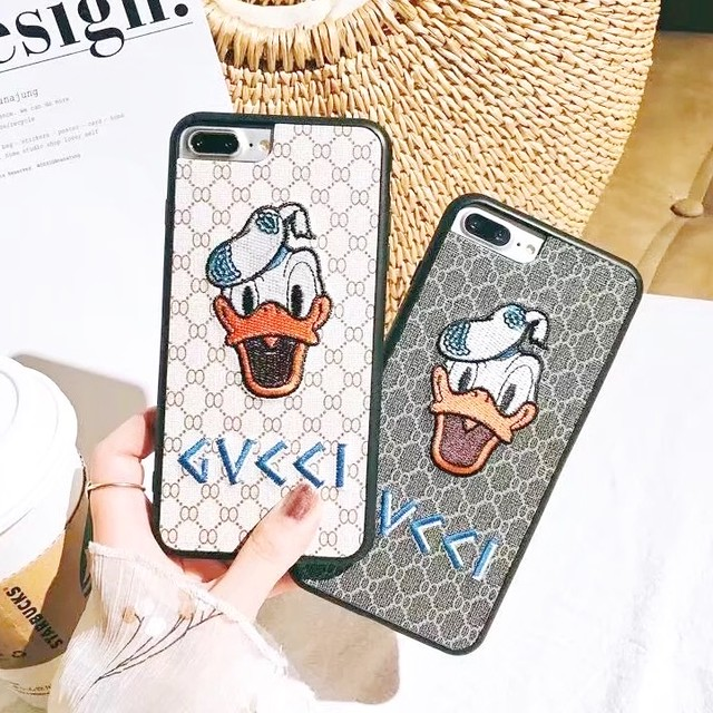 刺繍 ブラウン ロゴ iPhone case