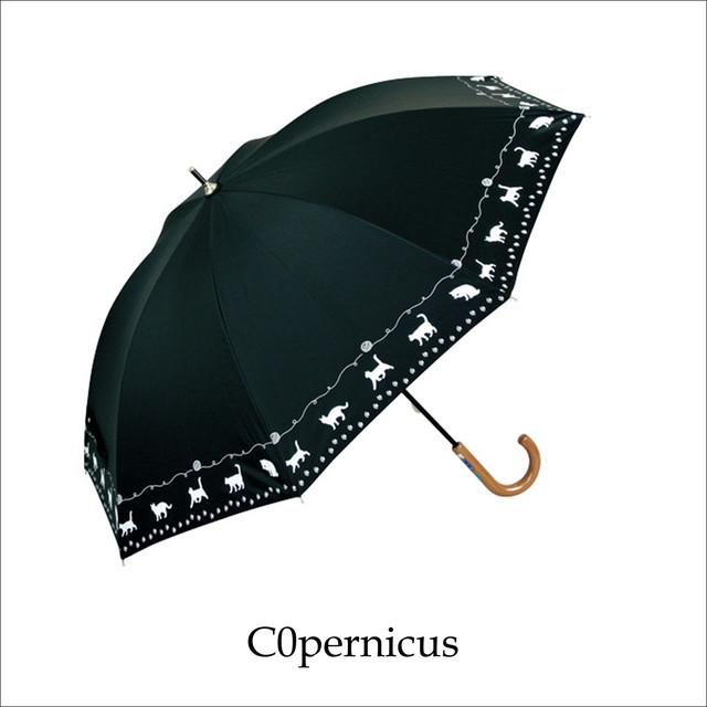 ネコモチーフ・リーフ/47㎝/晴雨兼用雨傘UVカット率99%/男女兼用傘 浜松雑貨屋 C0pernicus