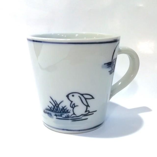 染付陶器 マグカップ コーヒーカップ 湯呑み 19lh57-ek-cup 陶器 月兎 満月 お月見 うさぎ 兎 和風 和柄 おしゃれ ギフト モダン 和