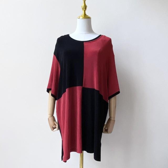 レディース 80年代 USA製 半袖カットソー 半袖Tシャツ アメリカ 古着 レッド×ブラック 日本LL
