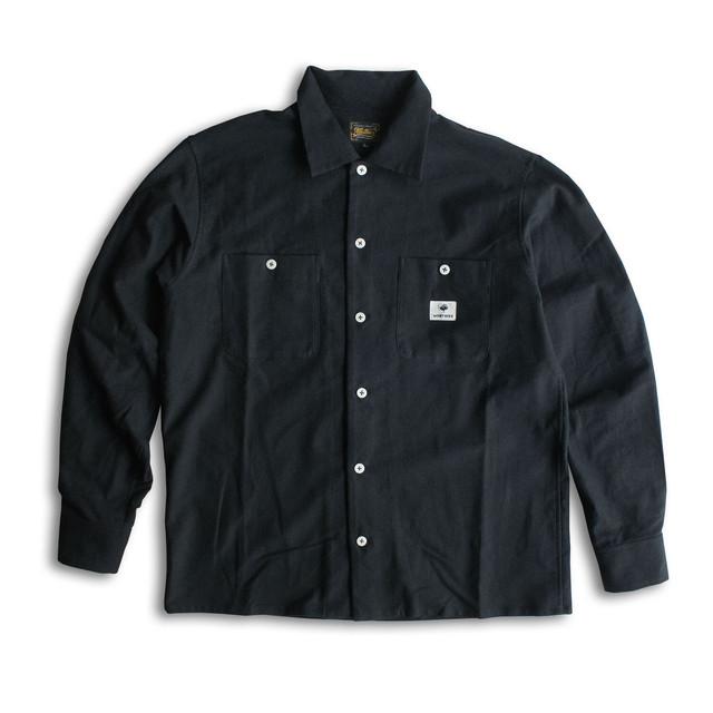 PLAIN FLANNEL L/S SHIRTS - BLACK