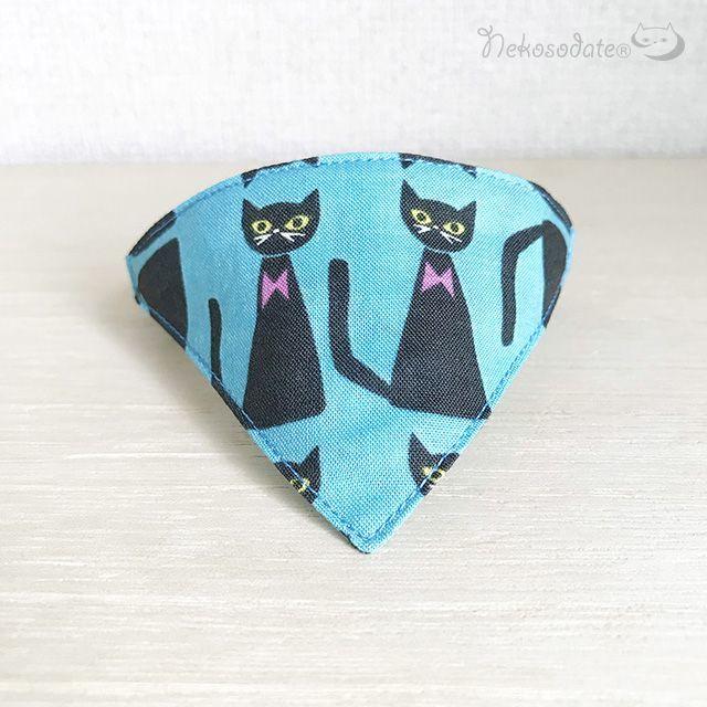 【おすまし黒猫柄】猫用バンダナ風首輪/選べるセーフティバックル 猫首輪
