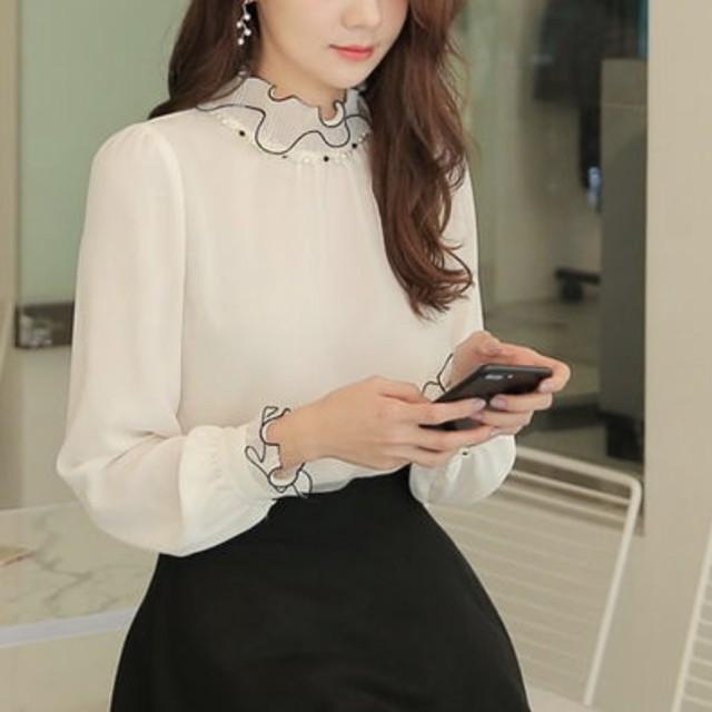 シックプリーツ パール装飾ポイント ホワイト ブラック トップス 長袖 オフィス かわいい