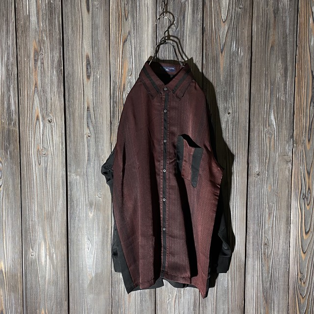 [used]wine red switching design shirt