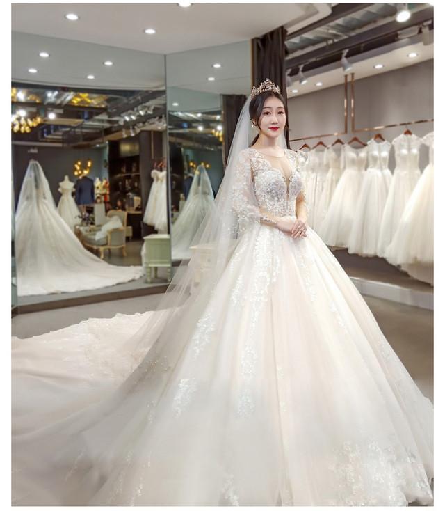 ウエディングドレス マタニティ 妊婦 長袖 ロングトレーン 花嫁 結婚式