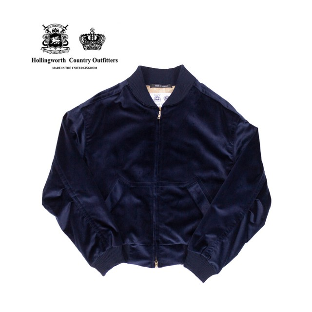 【Hollingworth Country Outfitters】 ベロア ボンバー ジャケット 〈Navy〉