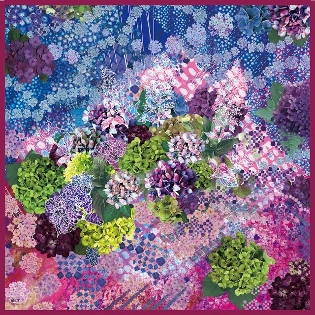 手巻きシルクスカーフ[水の器 紫陽花浮かべて]レッド