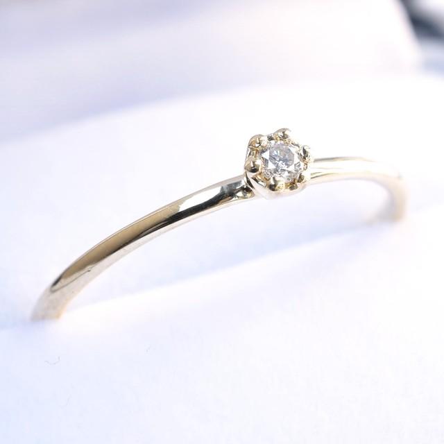K10YG 蕾リング(天然ダイヤモンド)