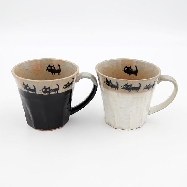猫マグカップ(美濃焼黒猫の散歩)ペア
