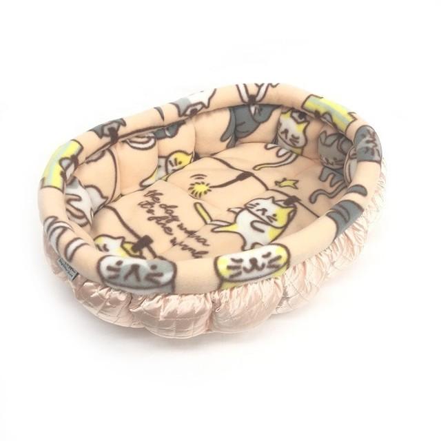 ふーじこちゃんママ手作り ぽんぽんベッド (サテンライトピンク・フリース・ねこお洗濯柄)Mサイズ 【CBPP02-0124M】