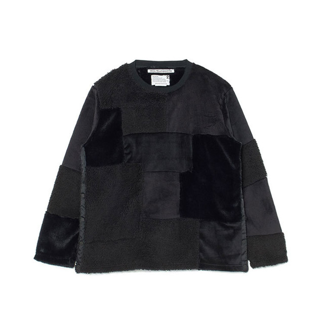 FLEECE PATCHWORK PULLOVER - BLACK