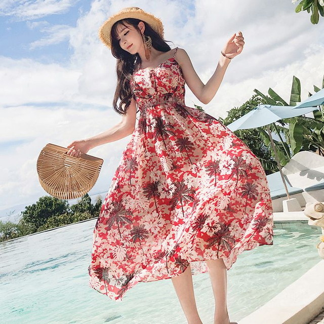 リゾート感たっぷりの花柄ワンピース / THREE STANDARD COMPLETE + SLING LONG SKIRT TOURIST BEACH HOLIDAY DRESS (WCN-1529854562)