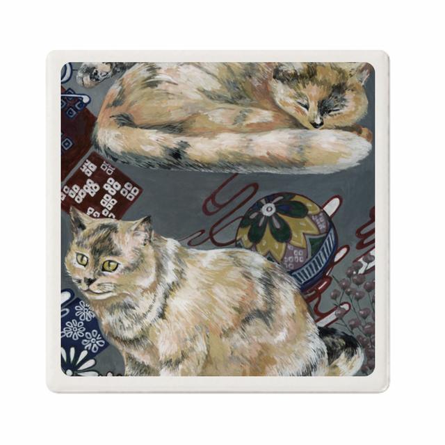 『日本画×手毬ネコ』 白雲石吸収コースター 角形