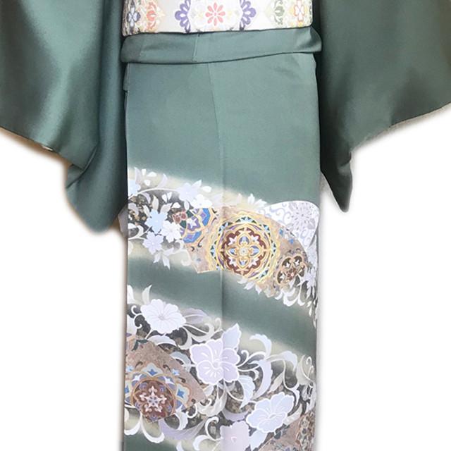 レンタル色留袖■緑青色地に金彩と薄紫色等で唐花柄■irotome8【往復送料無料】 - メイン画像
