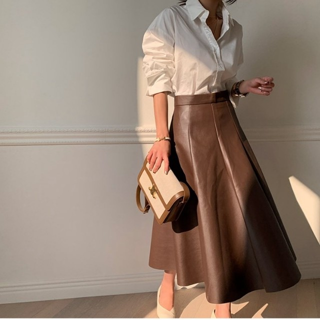​High-waist Leather Skirt T605