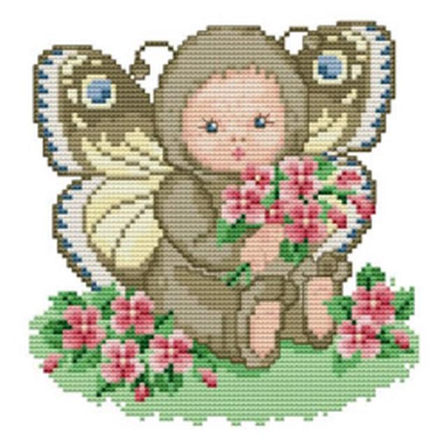 クロスステッチ図案「Butterfly Baby」蝶々:C-2908