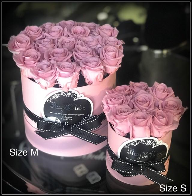 ★母の日限定 Box Pink model★『Coffret de Rose (コフレ・ドゥ・ローズ)』ピンク-SizeM(直径 約15cm  高さ 約16cm  バラ本数 約20本)
