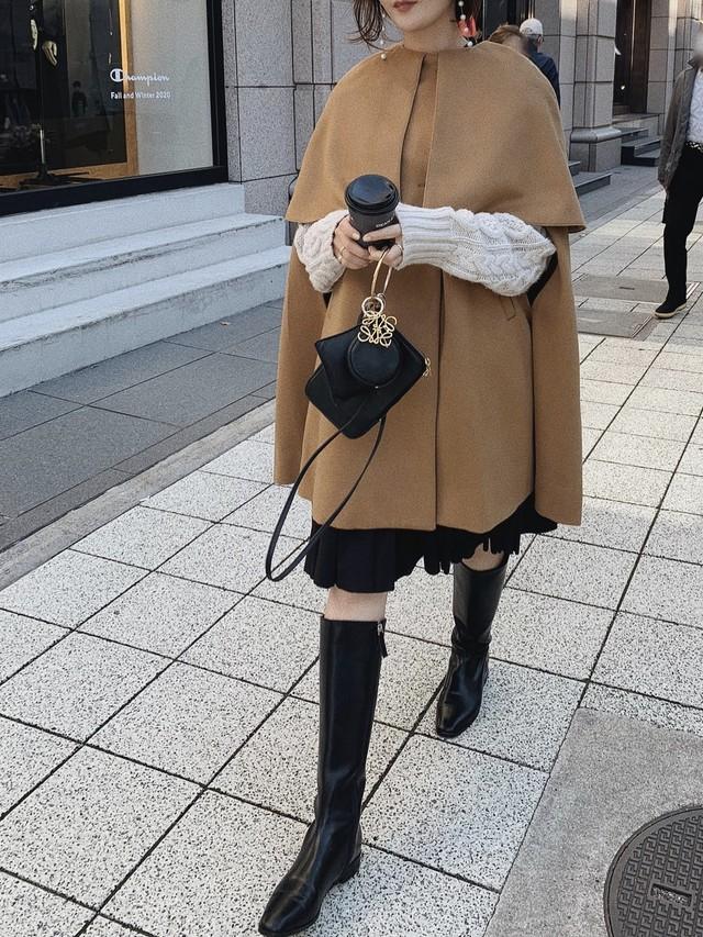 【予約】big collor cape coat / camel (12月下旬発送予定)