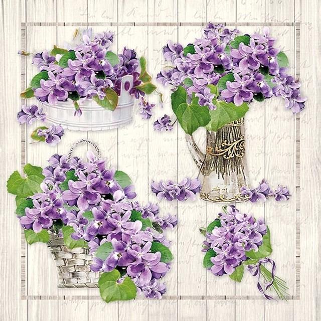 予約商品【Ambiente】バラ売り2枚 ランチサイズ ペーパーナプキン Purple Bouquets パープル