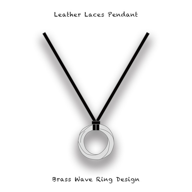 Leather Laces Pendant / Brass Wave Ring Design