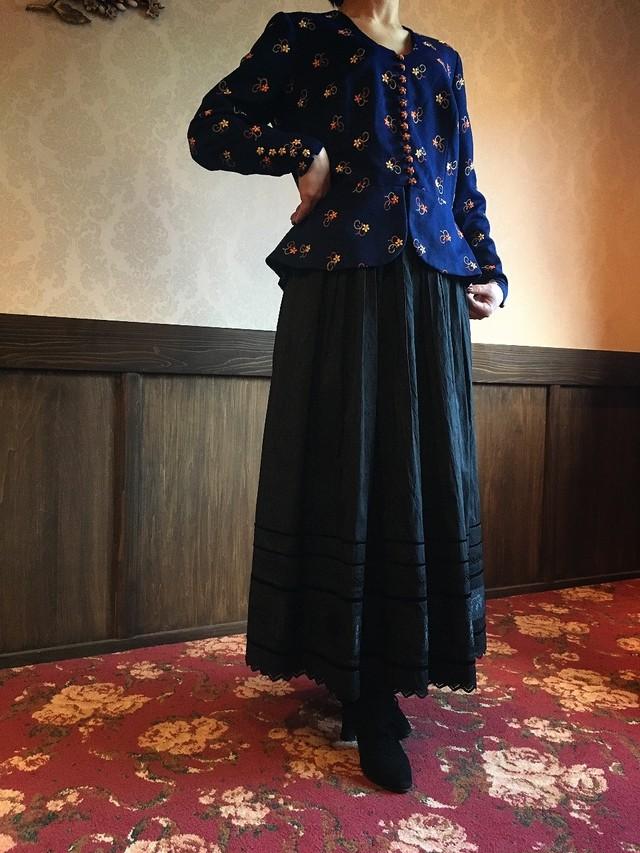 フラワー刺繍 シャツジャケット