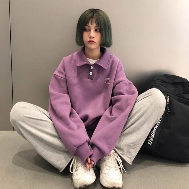 【tops】韓国系長袖着痩せ刺繍合わせやすいポロネックルーズカジュアルパーカー