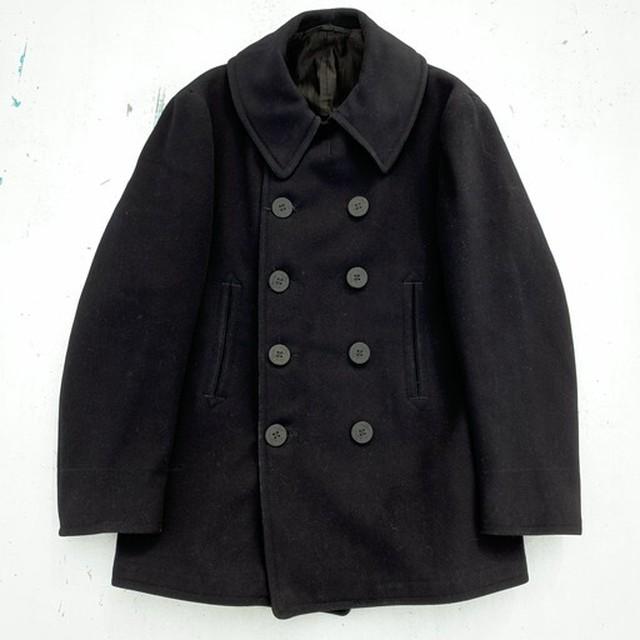 30's~ U.S.NAVY WOOL 10ボタン Pコート 刺繍タグ 裏地コットン アンカーボタン チンストラップ ステンシル 高密度ウール ネイビー 紺 WW II 38~40 希少 ヴィンテージ