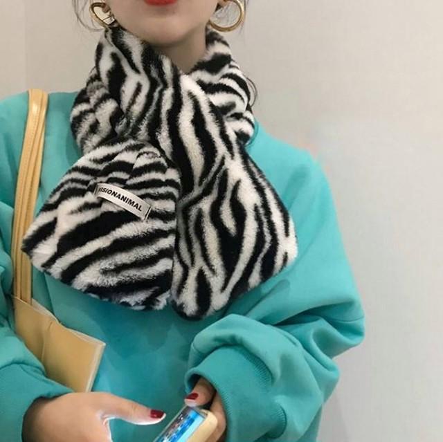 【最短2日で発送】Zebra pattern short muffler LD0238