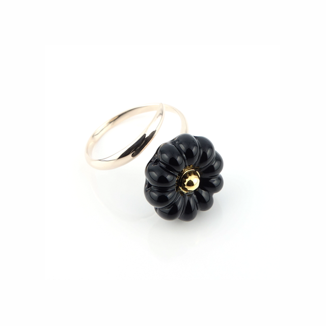 "K10_flower glass_ring ""dark night"""