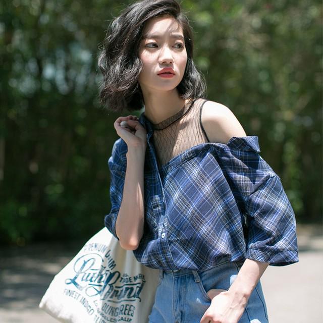 【tops】ファッションジュエルネック透かし彫りチェック柄半袖Tシャツ