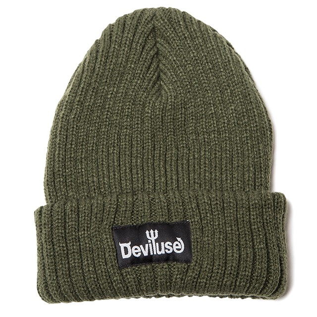 【Deviluse | デビルユース】Logo Beanie(Olive)