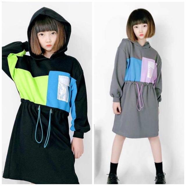 110cm~160cm 2カラー ★ 長袖 ワンピース フード付き カジュアル 秋服