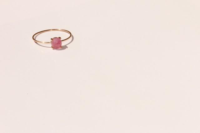 【9月誕生石】ピンクサファイア 10K ラウンド4リング